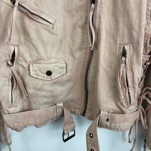 Free People Jackets & Coats - Free People Pink Oversize Denim Moto Jacket